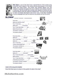 A song By Bob Dylan to practise modals - ESL worksheets Teaching Aids, Teaching Activities, Student Teaching, Listening English, Teaching English, English Teachers, English Lessons, Learn English, English News