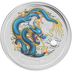 2012 $1 Blue Year of the Dragon Lunar Series II (Australia). nicely done