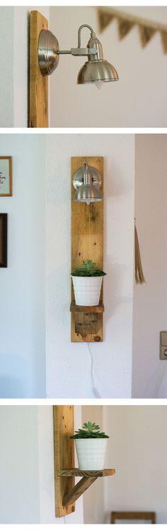 DIY Wandlampe aus altem Paletten Brett.