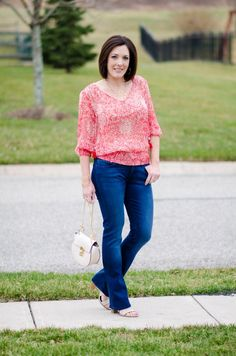 Fashion Over 40: Coral Banded Top with Baby Bootcut Jeans and Payless Romeo Block Heel Sandal #PaylessforStyle