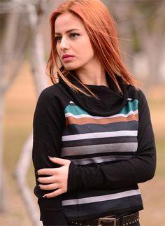 Bayan Triko Bluz Renkli Çizgili 2180 Siyah   Modelleri ve Uygun Fiyat Avantajıyla   Modabenle