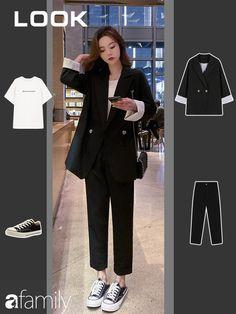 Korean Girl Fashion, Korean Fashion Trends, Korean Street Fashion, Ulzzang Fashion, Look Fashion, Fashion Design, Ulzzang Style, Fashion Wear, Ladies Fashion