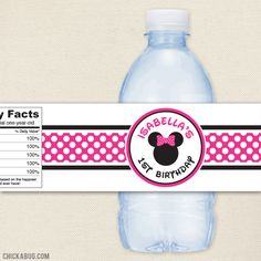 Minnie Mouse water labels!! TOO cute! :)