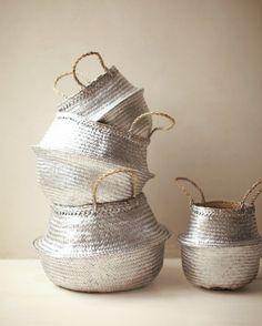 Use silver spray paint to transform plain storage baskets.