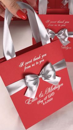 Elegant Wedding Favors, Wedding Gift Bags, Wedding Favor Boxes, Wedding Party Favors, Destination Wedding Welcome Bag, Wedding Welcome Bags, Personalized Gift Bags, Personalized Wedding, Red Silver Wedding