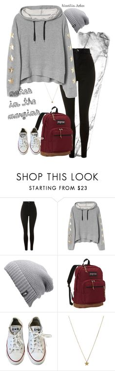 """conflictions"" by kierstin518 on Polyvore featuring Topshop, The North Face, JanSport, Converse and Gogo Philip"