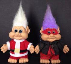 "Troll Christmas Halloween Blue Eyes 11"" Purple White Hair itb 1991 Santa Devil | eBay"