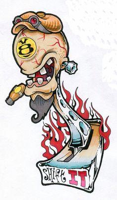 Graffiti Drawing, Graffiti Art, Cartoon Styles, Cartoon Art, Hot Rod Tattoo, Goat Art, Tattoo Themes, Poster Drawing, Rat Fink