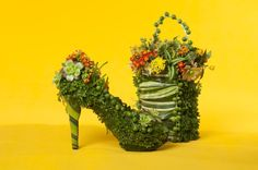 botanical shoe and purse with kalanchoe and succulents, Françoise Weeks