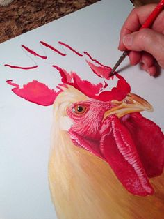 How to Paint a Rooster Portrait Now his comb. I never paint in one sitting, but several small blocks of time. That's where plastic wrap & a spray bottle are essential, otherwise the mixed colors would dry out and be unusable fast! Rooster Painting, Rooster Art, Tole Painting, Painting & Drawing, Chicken Painting, Chicken Art, Acrylic Painting Techniques, Art Techniques, Watercolor Bird