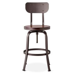 • Metal frame material<br>• Metal legs <br>• Chestnut stained wood finish<br>• Steel metal finish bar stool<br><br>Experience the comfort and flexibility of the Dakota Backed Adjustable Barstool. The height adjusts from chair height to counter height to bar height so you can use it anywhere you need it. And its cool industrial design blends with any decor from mid-century modern to contemporary. Comfy. Adjustable. Perfect.