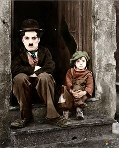 "Charlie Chaplin and Jackie Coogan on the set of the movie ""The Kid"" 1921"