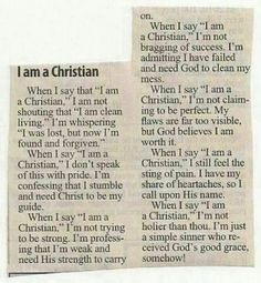 """What """"I am a Christian"""" means to me"""