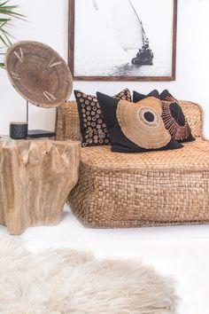 Interior Design and Photography by Cushions by Beautiful natural living room spaces.featuring our Masekela Oversized Lounger, African Artwork, Moshaba Side Table and our Living Room Seating, Living Room Sets, Living Room Designs, Living Room Furniture, Living Room Decor, African Living Rooms, African Themed Living Room, Canapé Design, House Design