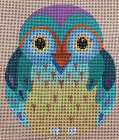 Dede Ogden Hooter Baby Owls A ED17081A Hand Painted Needlepoint Canvas