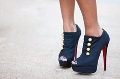 Love these marine corp heels  Louboutin Flannel Ankle Boots in navy