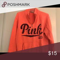 Victoria Secret quarter zip pullover Pink fleece quarter zip pullover - super comfy and in great condition PINK Victoria's Secret Tops Sweatshirts & Hoodies