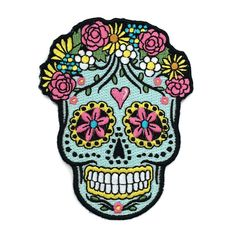 Sugar Skull Embroidered Patch / Iron-On by WildflowerandCompany