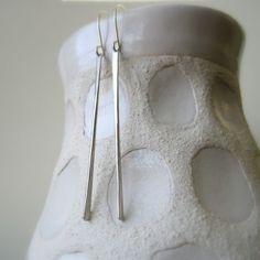Modern sterling silver stick earrings, icicles, hand hammered bar earrings - made to order. $24.00, via Etsy.