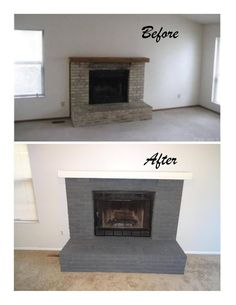 Gray Fireplace Paint-House in Ohio