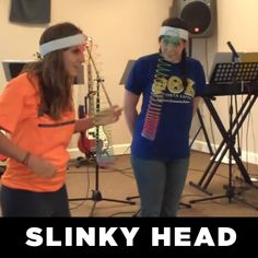 """Also called """"Pink Elephant,"""" this is a game where students try to land the slinky on their head with no hands. To make the props for the game, simply attach slinkys to headbands."""