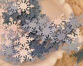 Winter Wedding White and Shades of Blue Snowflake Confetti Invitation Stuffers & Confetti Table Decoration