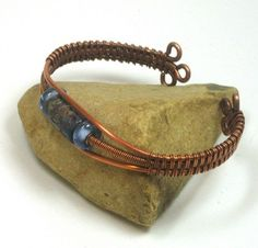 Woven Copper Wire Blue Patterned Lampwork Cuff Bracelet