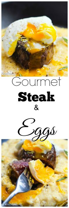 Gourmet Steak and Eggs Skillet A perfect and elegant breakfast or brunch idea that amps up the classic steak and eggs. Runny poached eggs served with filet mignon is how brunch is done in our house. Brunch Recipes, Breakfast Recipes, Dinner Recipes, Breakfast Ideas, Perfect Breakfast, Beef Recipes, Cooking Recipes, Easy Recipes, Jai Faim