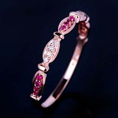 18K R G Finish Gemstone Anniversary Bands .12 Ct Ruby & VVS1 Wedding Ring by JewelryHub on Opensky