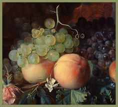 Jan van Huysum 'Still Life with Flowers and Fruit' (detail with fruit) c.1700-49 Oil on panel