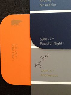 Bedroom color scheme with Behr colors - Anonymous on the walls with navy blue and orange accents