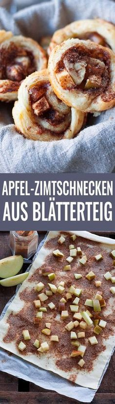 Apple cinnamon buns made from puff pastry- Apfel-Zimtschnecken aus Blätterteig Apple cinnamon rolls from puff pastry - Puff Pastry Desserts, Pastry Recipes, Baking Recipes, Cake Recipes, Food Cakes, Apple Recipes, Sweet Recipes, Vegan Baking, Cream Recipes
