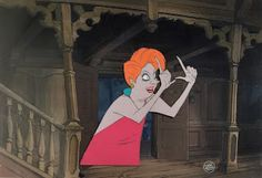 """Original hand-painted production animation cel of Madame Medusa from """"The Rescuers,"""" 1977, Walt Disney Studios; Set on a lithographic background; Numbered 153 in ink and with the Walt Disney seal lower right; Size - Madame Medusa: 7 x 6 1/2"""", Image 10 3/4 x 15 3/4""""; Unframed."""
