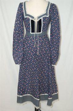 BOHO Vtg GUNNE SAX hippie FLORAL CORSET PRAIRE RENAISSANCE DRESS sz 7 XS/S in Clothing, Shoes & Accessories | eBay