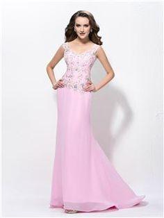 Fancy Straps Beading Appliques Zipper-Up Trumpet/Mermaid Floor-Length Evening Dress : Tidebuy.com