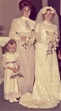 1970s bridal dress, bridesmaid and flower girl