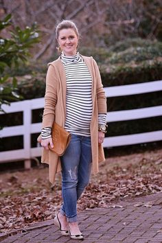 Camel sweater and striped shirt - maternity style, dress the bump - Peaches in a Pod