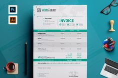 Simple Clean Invoice Template by ContestDesign on @creativemarket