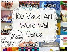 Visual Art Vocabulary Word Wall Cards (100 vocabulary word