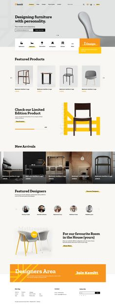 Kemitt furniture design UI/UX design and web design Website design made with this special yellow tint giving a feeling of luxury yet modern with the use of grey shades. The design itself having the. Ui Ux Design, Design Food, Brand Identity Design, Ecommerce Web Design, Layout Web, Website Design Layout, Layout Design, Simple Website Design, Website Design Inspiration