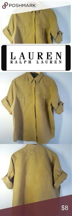 Lauren 100% linen shirt XL 100% linen shirt is long sleeve and convert to short sleeve. Has a little knick of a hole barely noticeable. Lauren Ralph Lauren Tops Button Down Shirts
