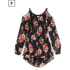 White House Black Market Petite Floral Print Cold-Shoulder Blouse ($98) ❤ liked on Polyvore featuring tops, blouses, cut-out shoulder tops, floral blouse, flower print blouse, sleeve blouse and cold shoulder blouse