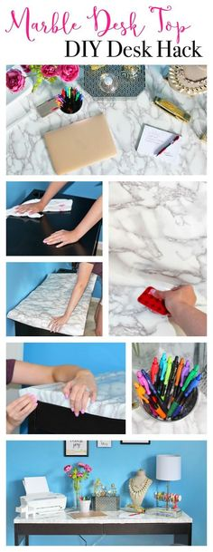How to overhaul your desk in less than an hour for… home decor ikea DIY Marble Desk Top Diy Marble, Marble Desk, Black Marble, Easy Home Decor, Home Office Decor, Cheap Home Decor, Office Ideas, Office Setup, Office Organization