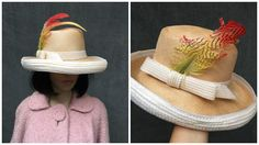Vintage Jack McConnell Boutique Straw Breton Fedora Style w/ Side Feather & Bow by ElkHugsVintage on Etsy
