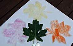 Leaf rubbings using different Art materials | Edventures with Kids