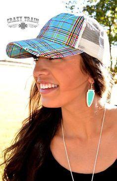 d28e5b5030c CRAZY TRAIN PRECIOUS PLAID CAP BLUE Paisley Grace Boutique