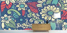 Floral Wallpaper - Floral Deco Mural - Floral Design Removable and Repositionable Wallpaper - Colorful Home Decor - Floral Kitchen Decor by ManukaPaper on Etsy https://www.etsy.com/listing/501739038/floral-wallpaper-floral-deco-mural