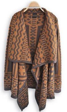 Brown Geometric Pattern Loose Shrug Sweater
