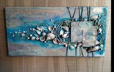 Items similar to Decorative canvas: Nature, beach under Moonlight - mixed media on Etsy - THE FRAME: -Measures 40 x 20 cm tie-back setting -Possible direction: vertical DECOR: -Genuine shel - Seashell Painting, Seashell Art, Seashell Crafts, 3d Wall Art, Beach Wall Art, Canvas Wall Art, Collage Mural, Mural Art, Altered Canvas