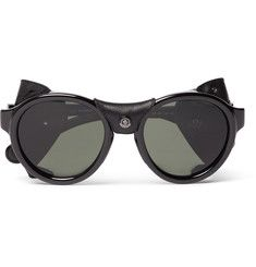 Moncler Round-frame Acatete Polarised Sunglasses In Black